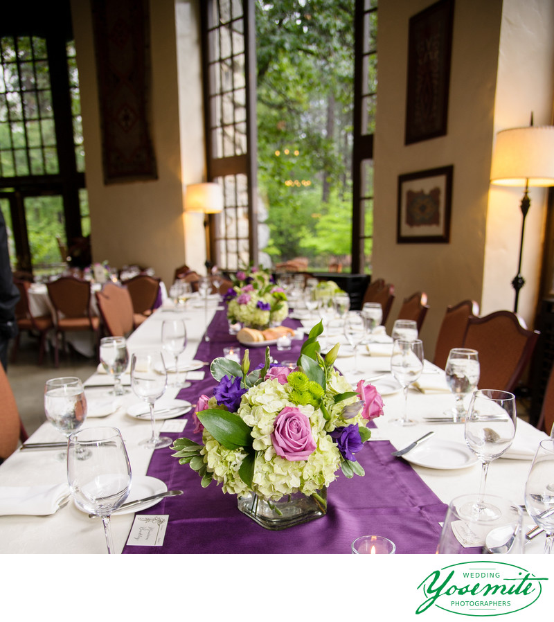 Purple And Green Spring Tables At Yosemite Wedding