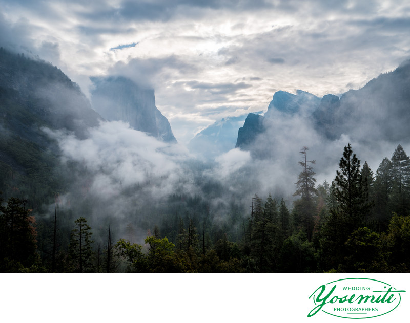 Spring Rain Clouds Clearing Morning of Yosemite Wedding