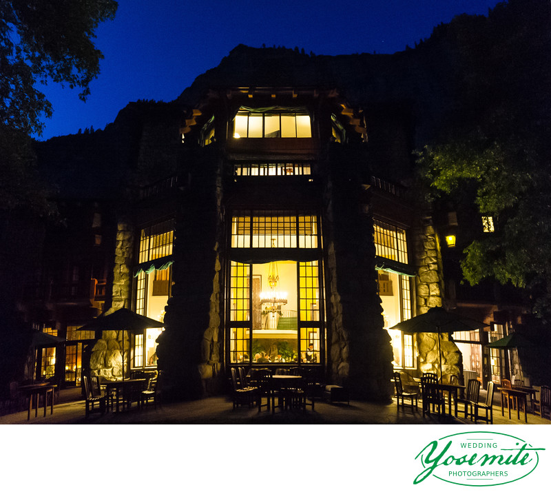 majestic yosemite hotel at night