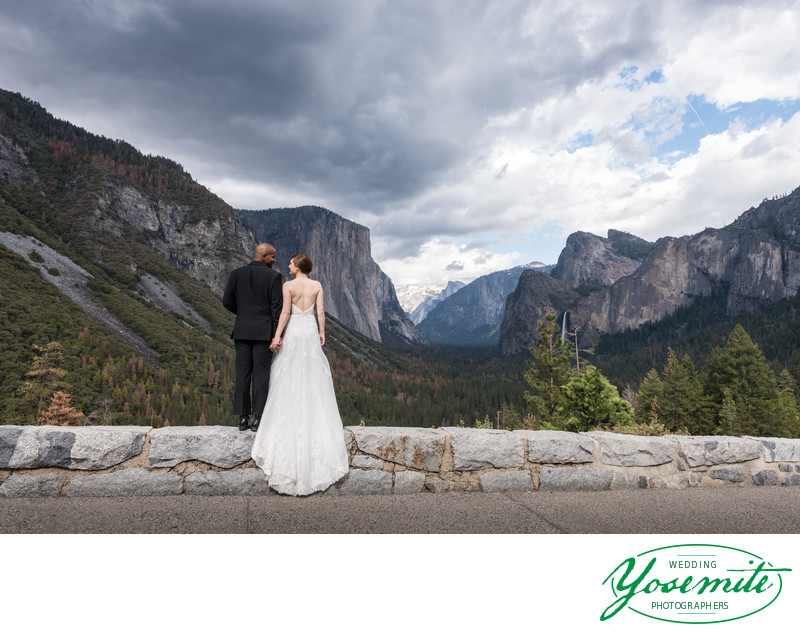 Bride And Groom Look Out Over Yosemite Valley