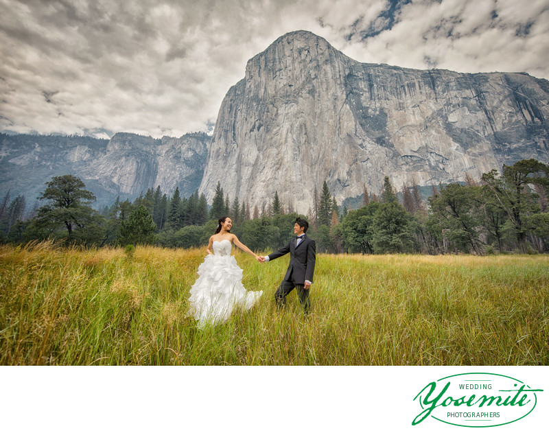 Wedding Couple in El Capitan Meadow