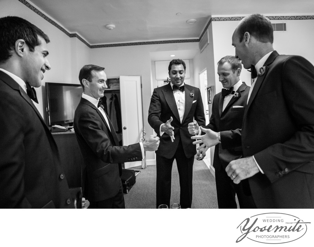 Groom's men play drinking game at Majestic Yosemite Hotel