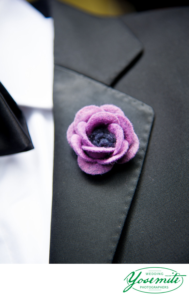 DIY Groom's felt flower boutonniere Majestic Yosemite