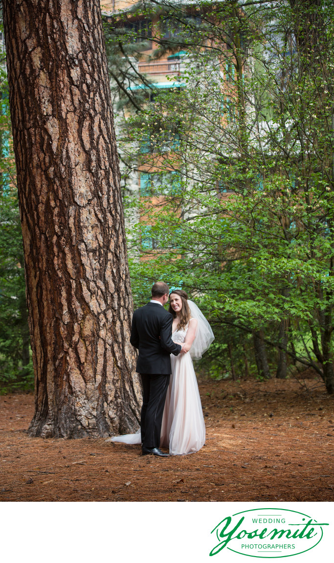 Bride And Groom After First Look at Majestic Yosemite Hotel