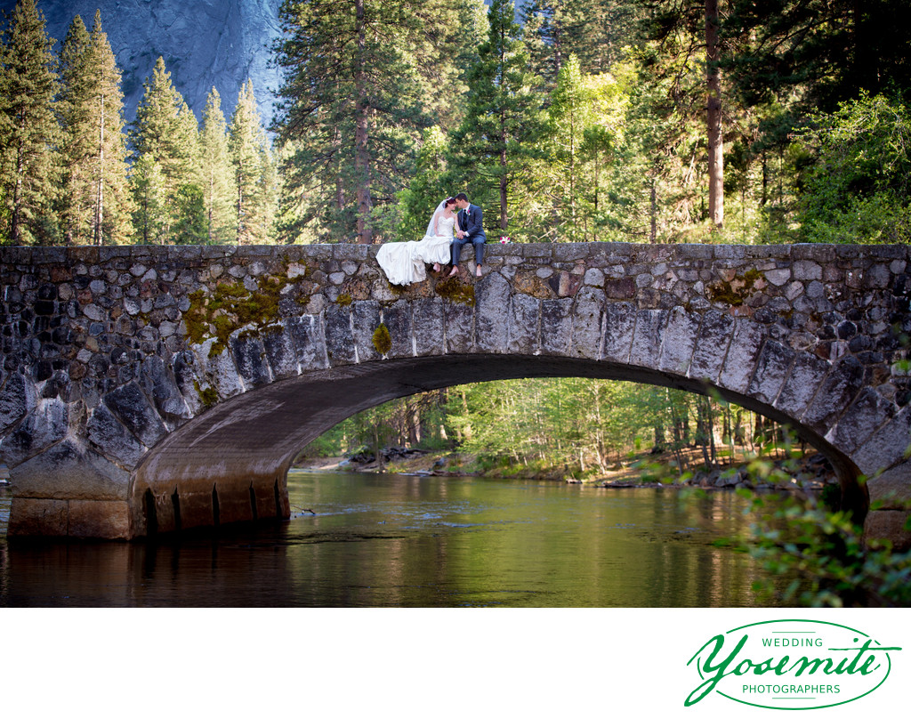 Wedding Couple Bridge Merced River Yosemite
