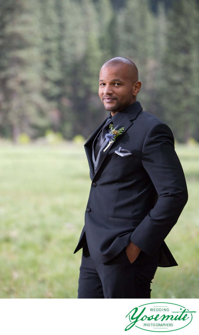Groom Portrait in Meadow at Majestic Yose