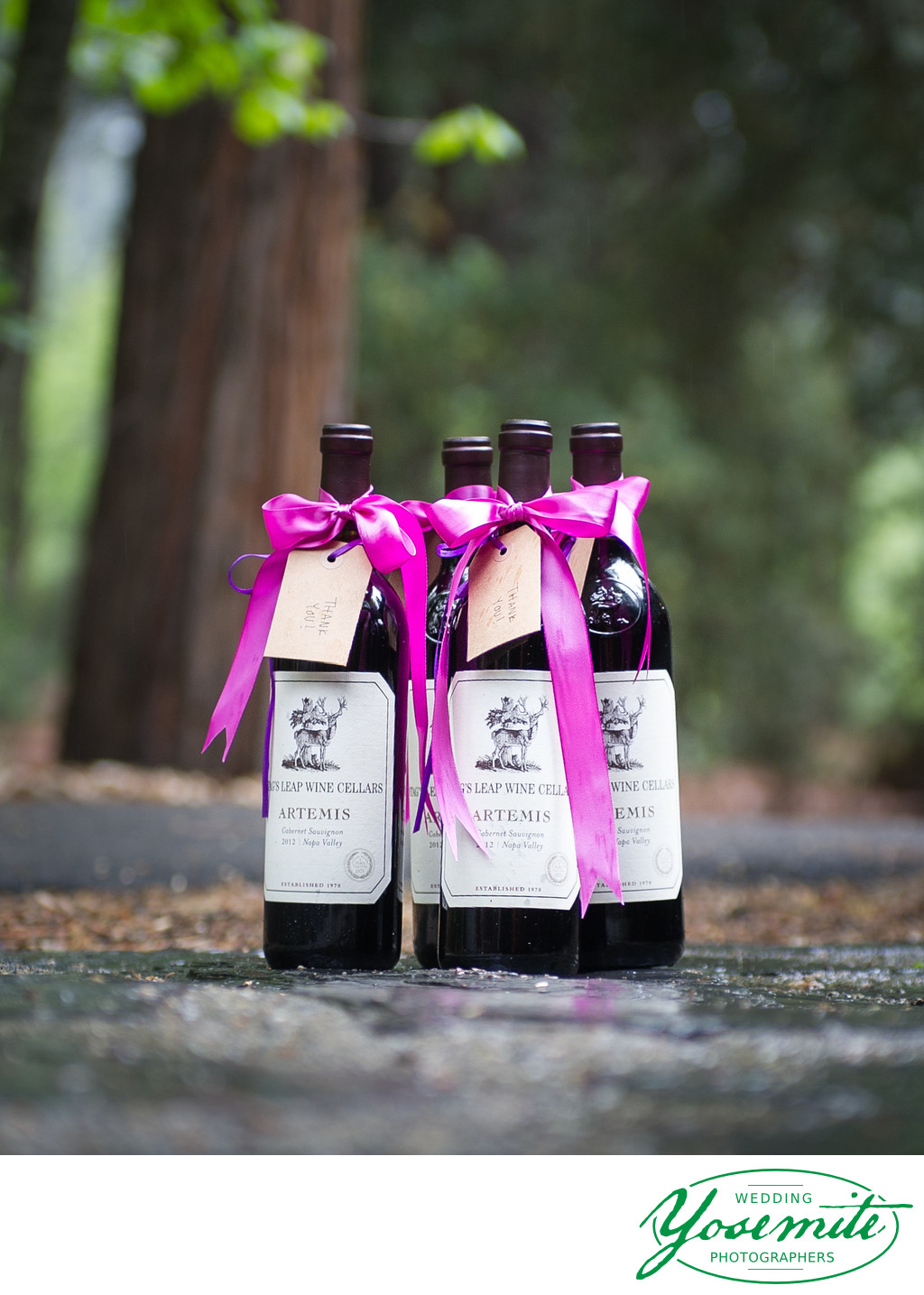 Thanks You Bottles of Wine at Majestic Yosemite Hotel Wedding