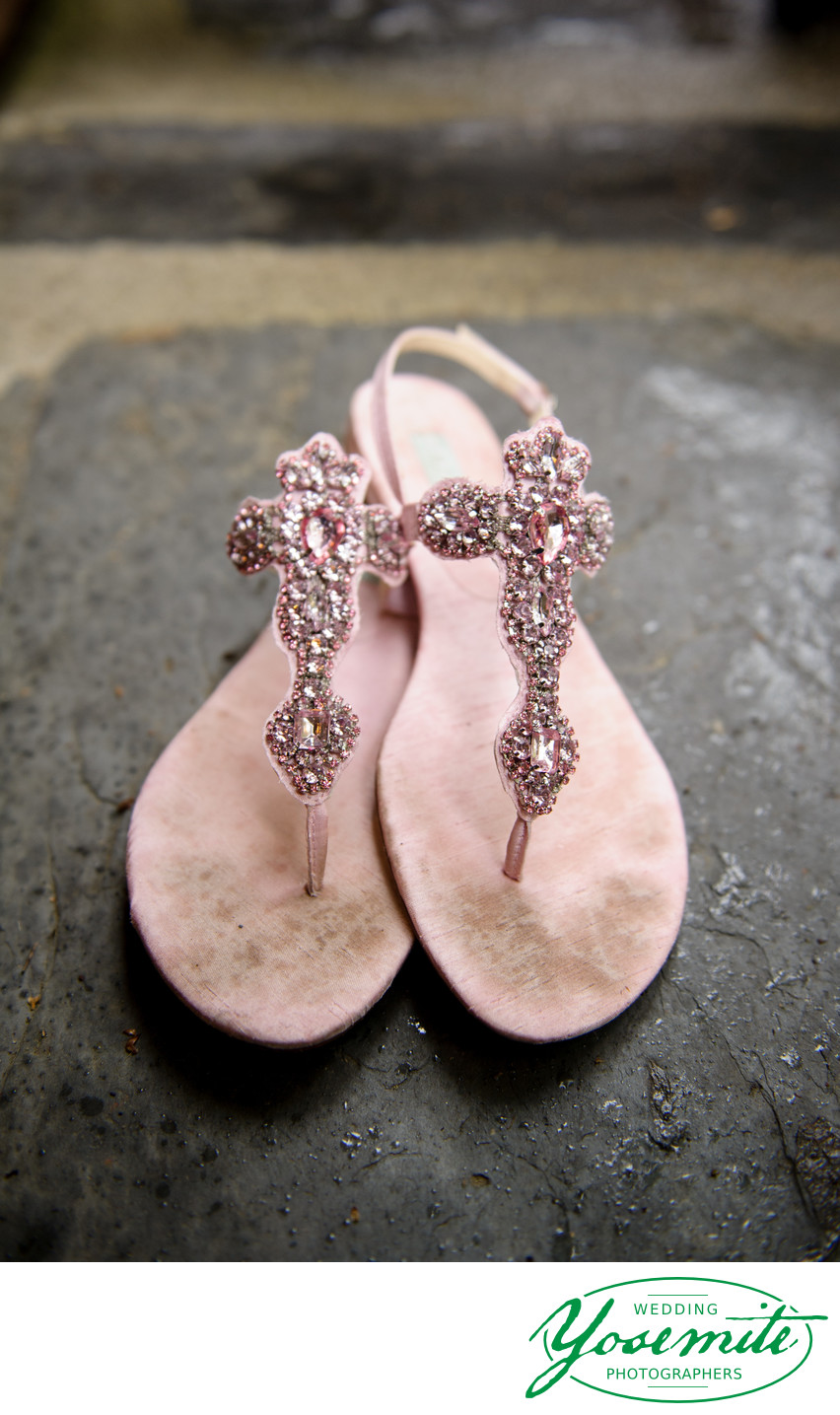 Betsy Johnson Pink Bling Sandals At Yosemite Wedding