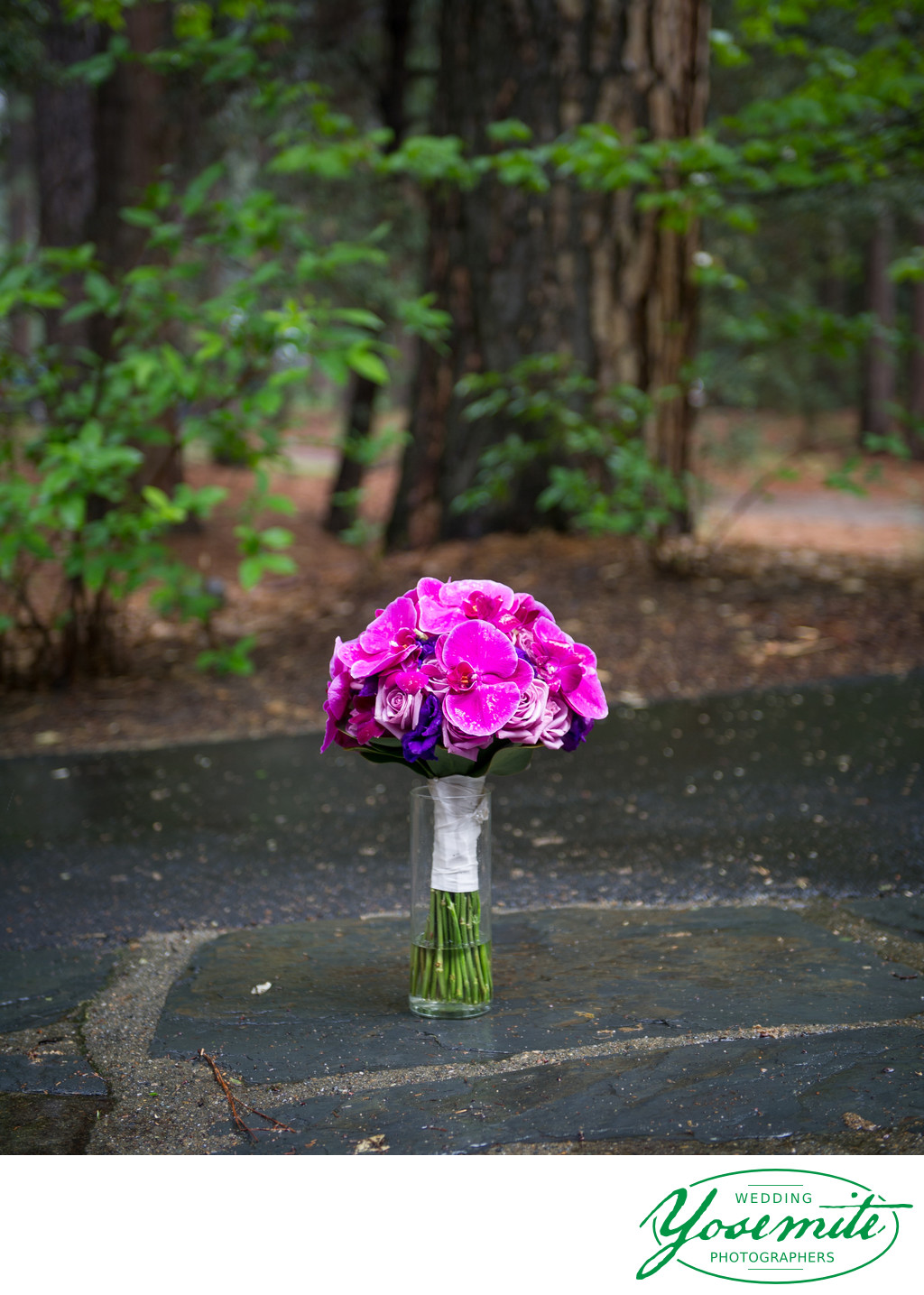 Purple Orchids Wedding Bouquet Yosemite Wedding
