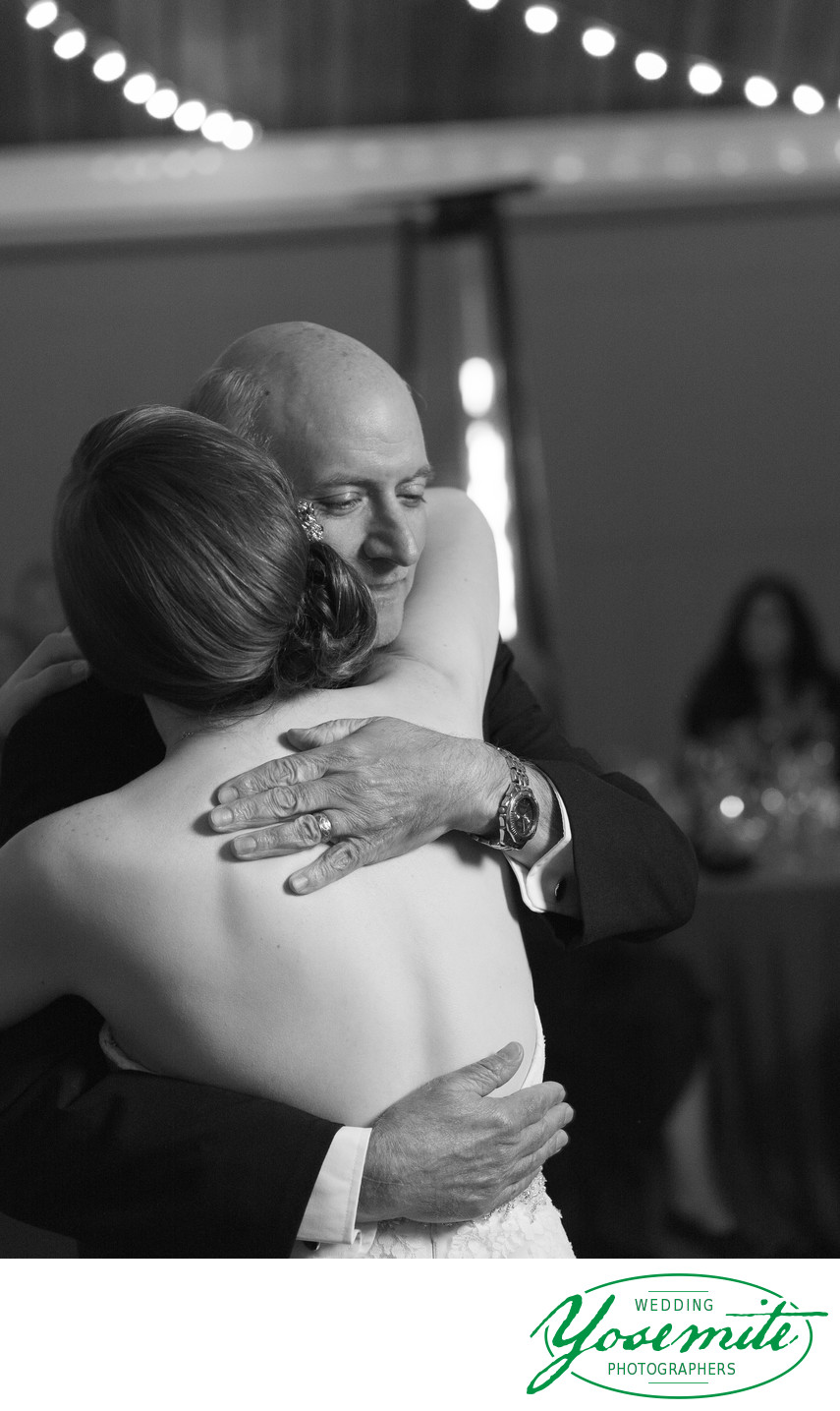 Father Embraces Bride At Father Daughter Dance Tenaya Lodge