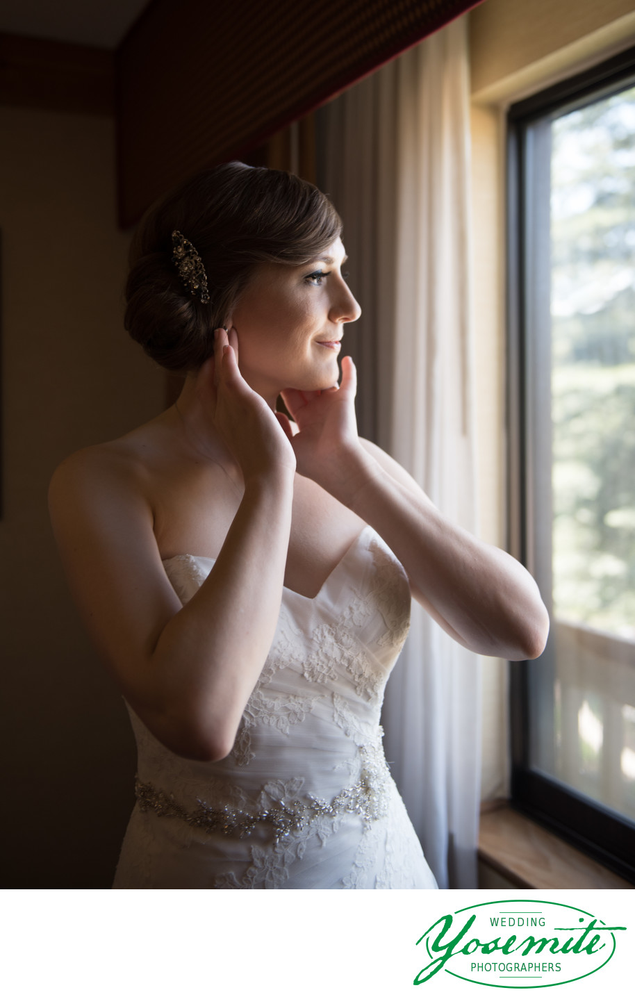 Bride Dresses At Window At Tenaya Lodge