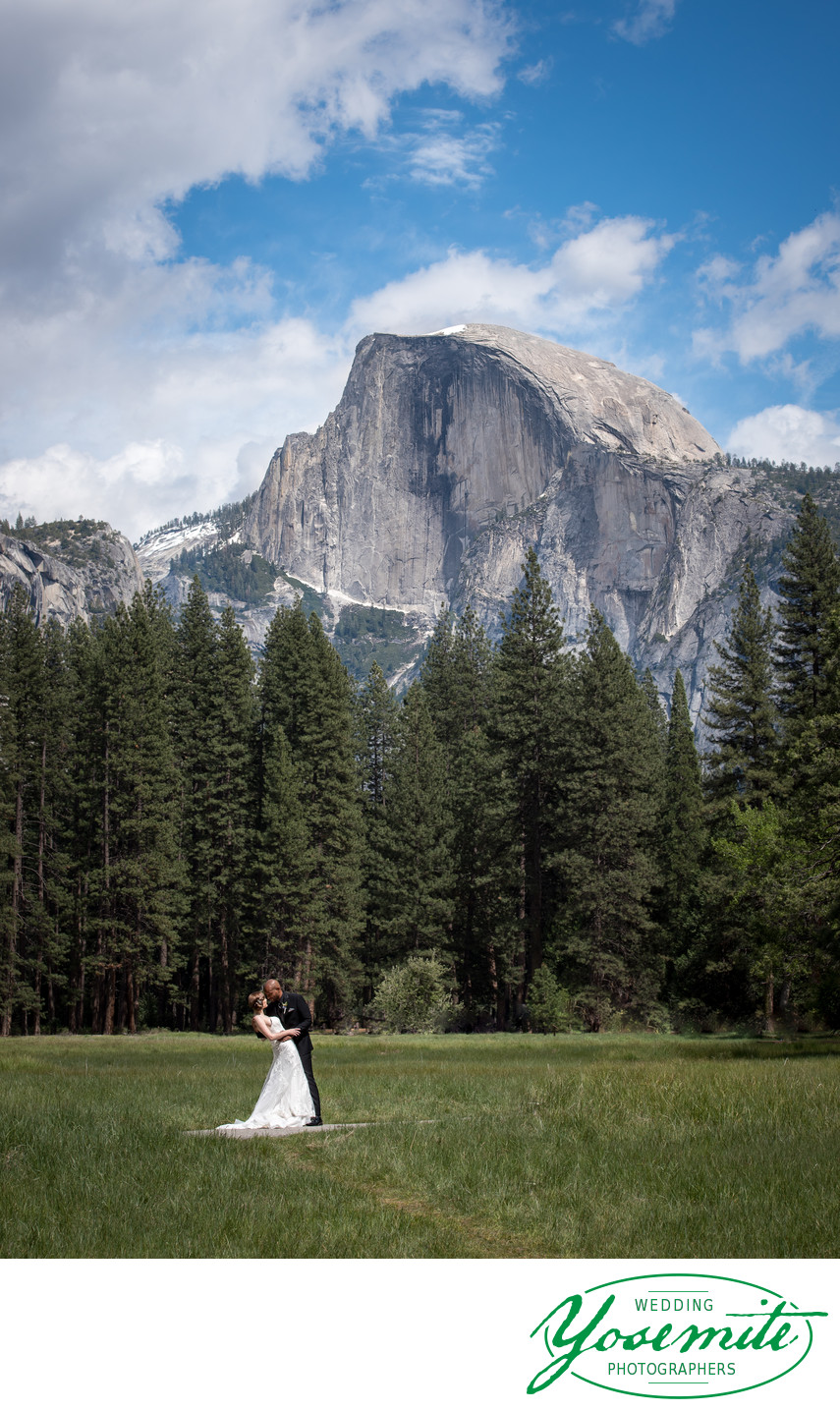 Bride And Groom On Wedding Day In Front of Half Dome