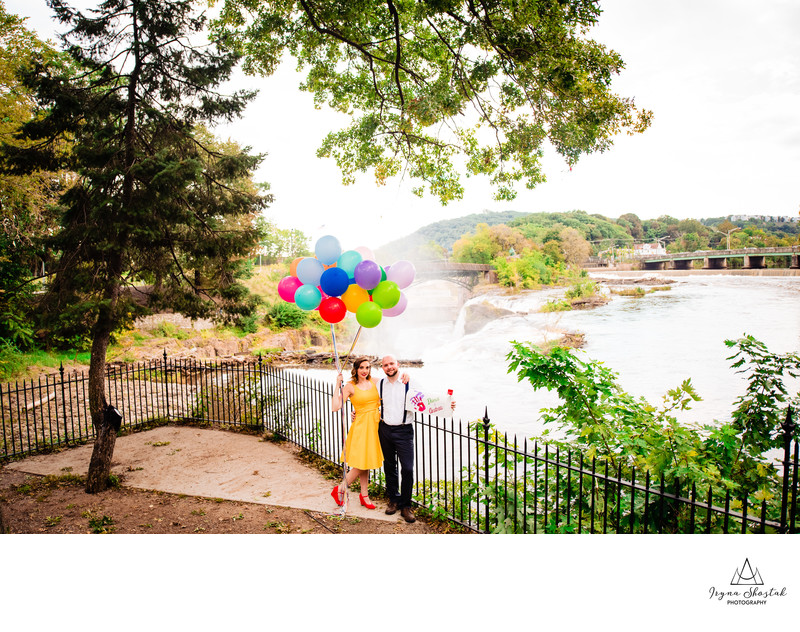 Unique engagement photography at Paterson Great Falls