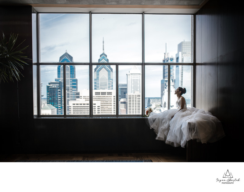 Bridal portraiture at Philadelphia  Loews Hotel