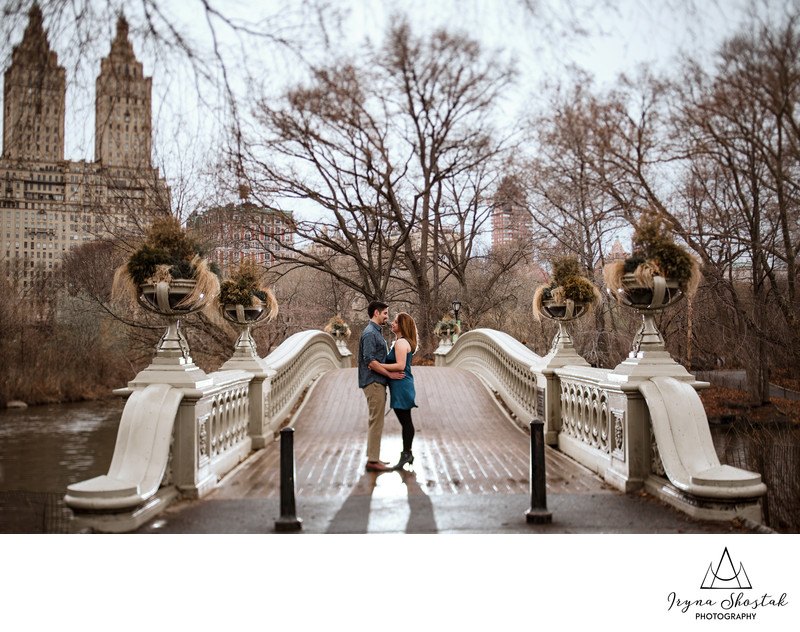 The Bow Bridge engagement portraits in Central park