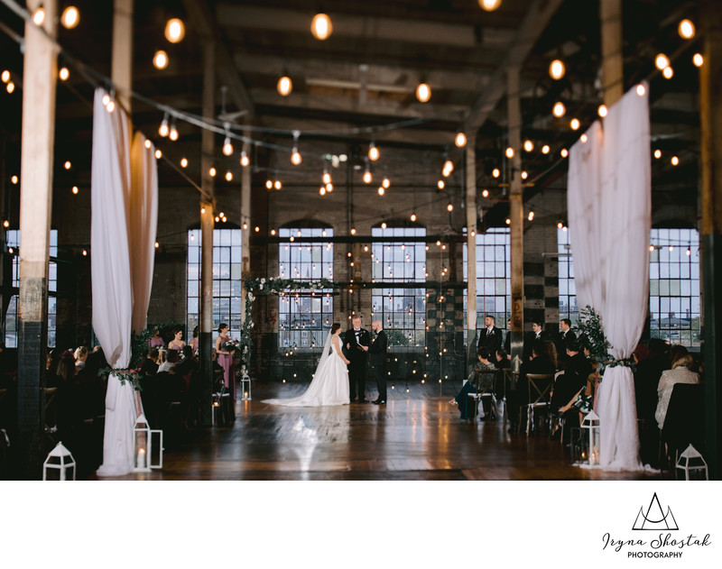 The wedding ceremony at The Art Factory Studios