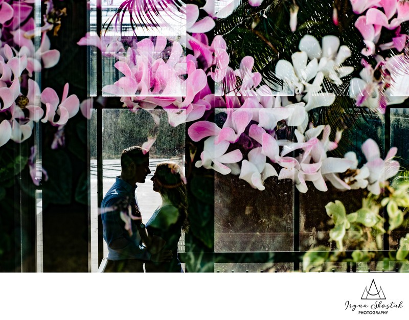 Engagement portraits at Longwood Gardens in winter
