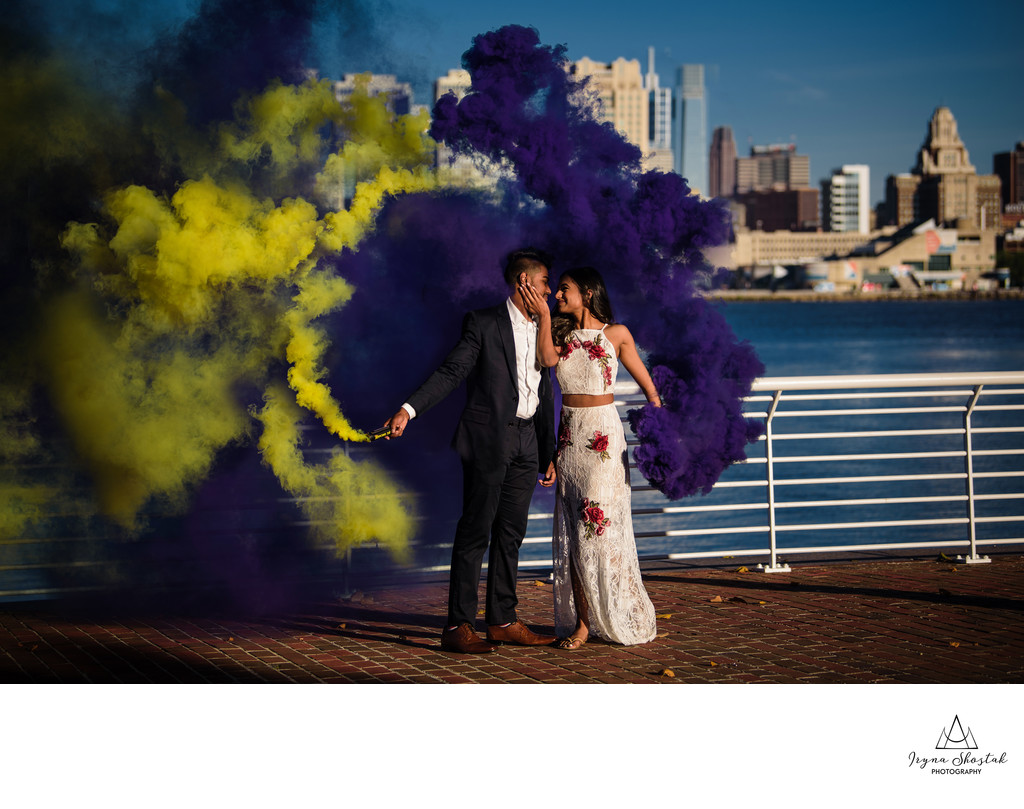 Smoke Bombs Engagement Session at Camden Waterfront