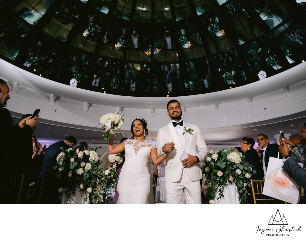 The wedding ceremony at Skylight Ballroom at The Merion