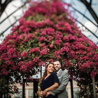 Fall engagement photoshoot at Longwood gardens