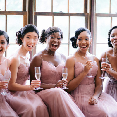 The bridal party portraits at Hotel Du Village.