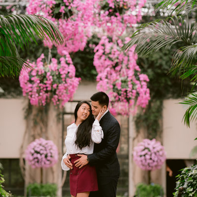 Winter engagement portraits at Longwood Gardens