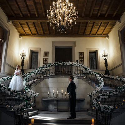 Oheka Castle Staircase Wedding Images