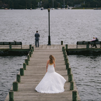 First look of the bride and groom at Toms River