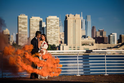 Smoke bomb engagement photography at Camden Waterfront