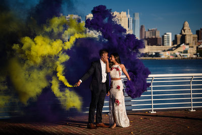 Camden engagement photography with smoke bombs