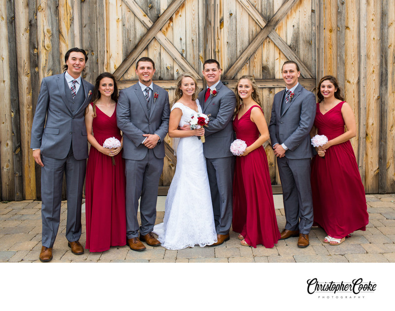 Barn Wedding with Red and Gray Colors