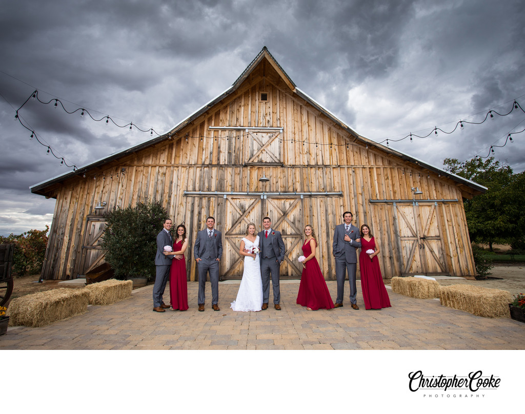 Barn Wedding with Dramatic Clouds