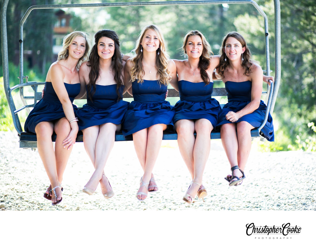 Bridesmaids on Ski Lift