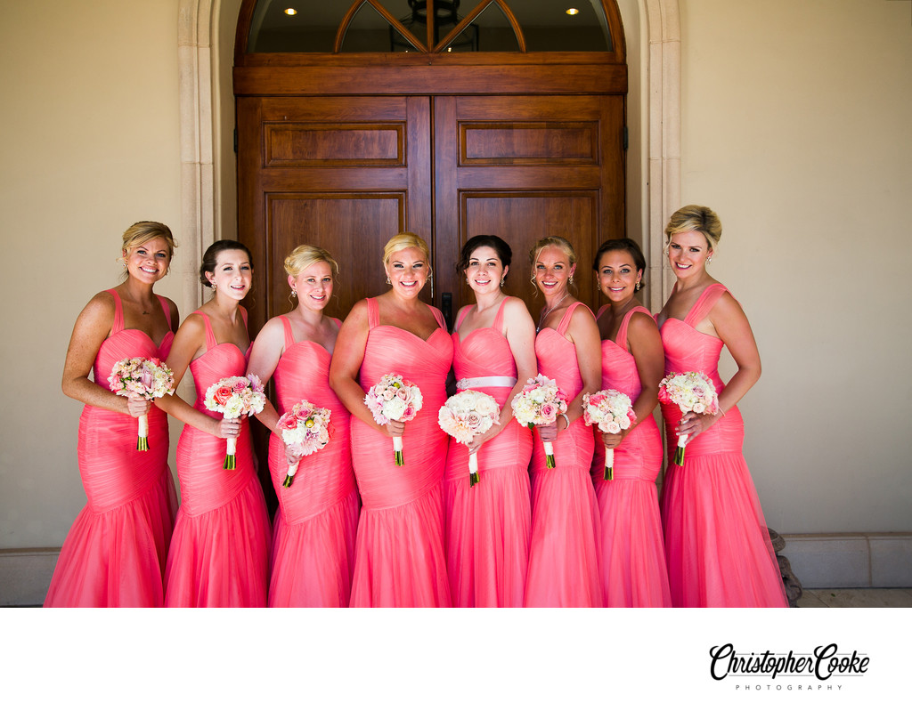 Bridesmaids in Coral Dresses