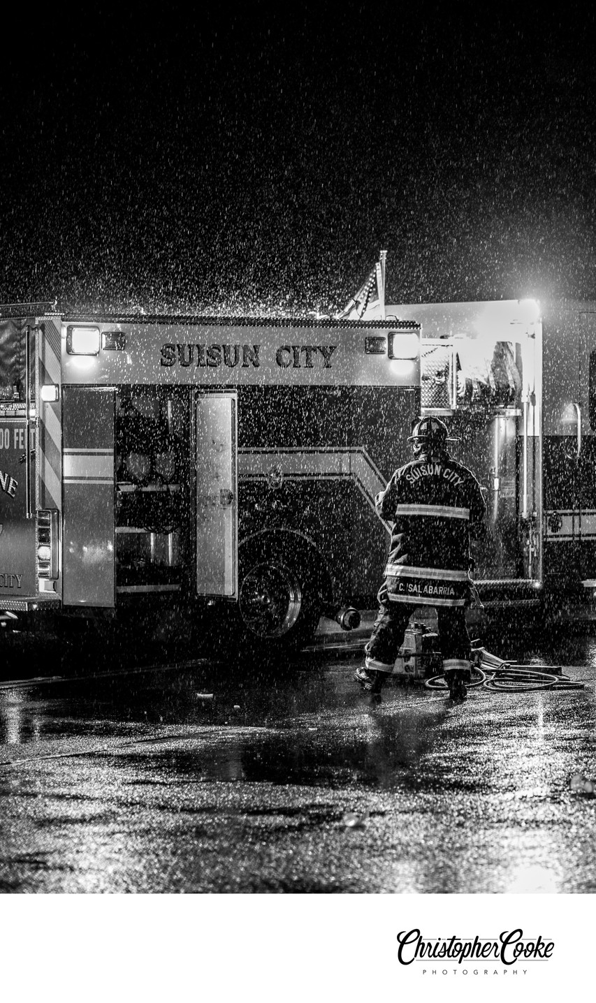 Suisun City Firefighter in the rain