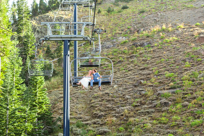disney express ski lift wedding picture