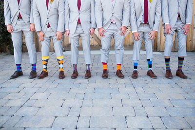 Groomsmen with fun socks
