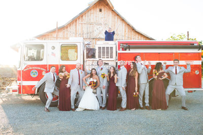 Wedding Party with Fire Engine