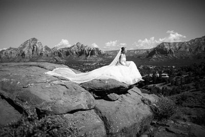 Sedona Wedding photographer bride on airport mesa