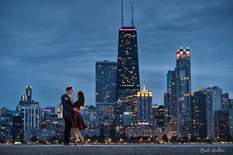 nighttime engagement photos in chicago