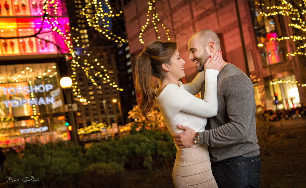 Chicago Water Tower Engagement Portrait Session