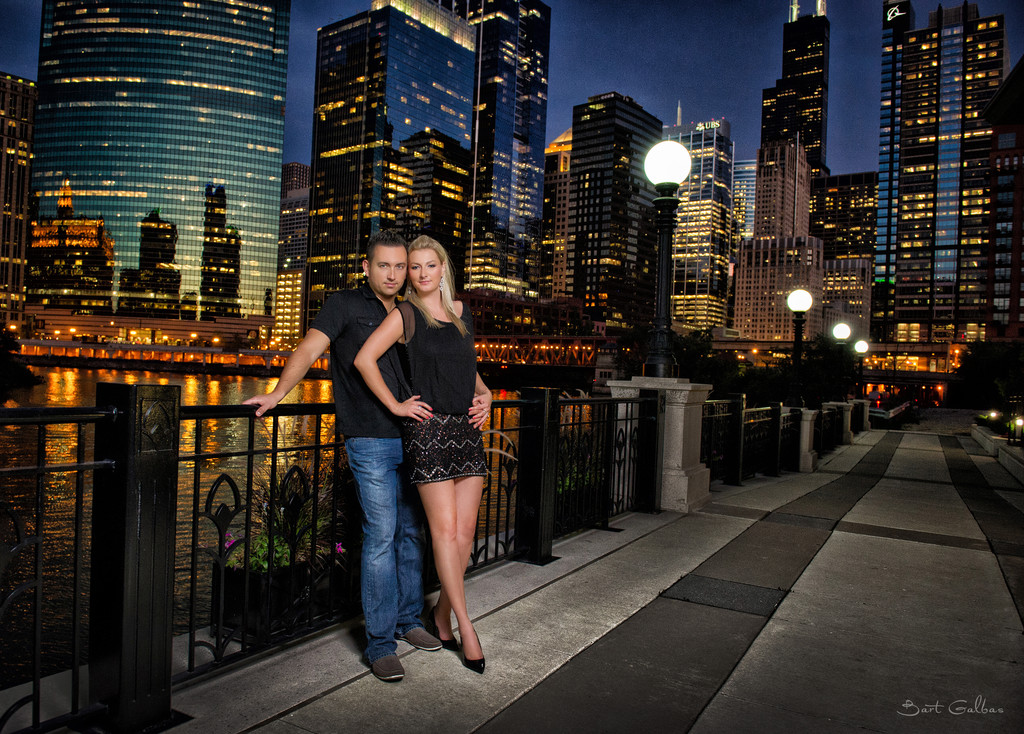 Chicago Riverwalk Engagement Wedding Portrait Session