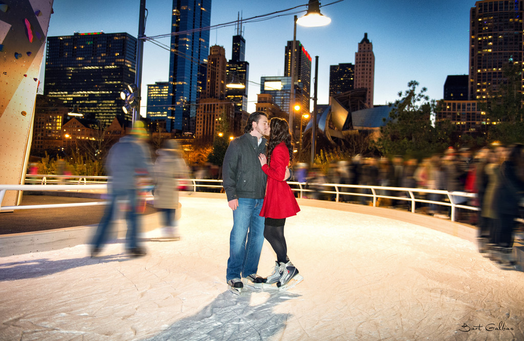 Ice Skating Rink Engagement Wedding Portrait in Chicago
