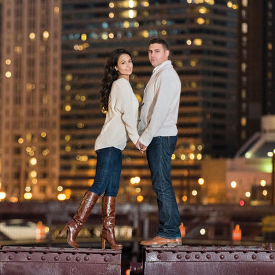 La Salle Street Bridge Engagement Wedding Session