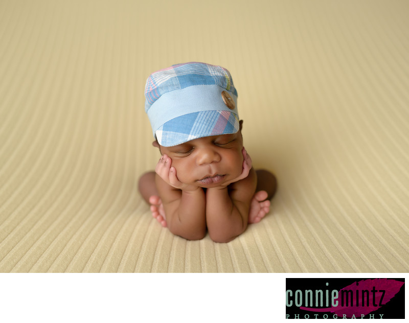 Baby in Blue Hat Prop in Vancouver Washington