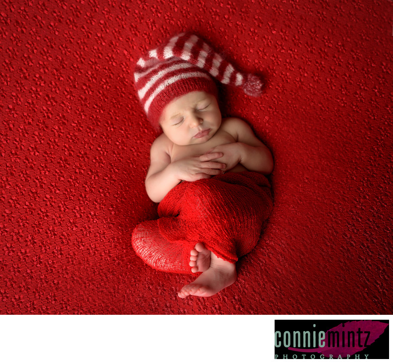 Christmas Newborn in Red in Vancouver WA