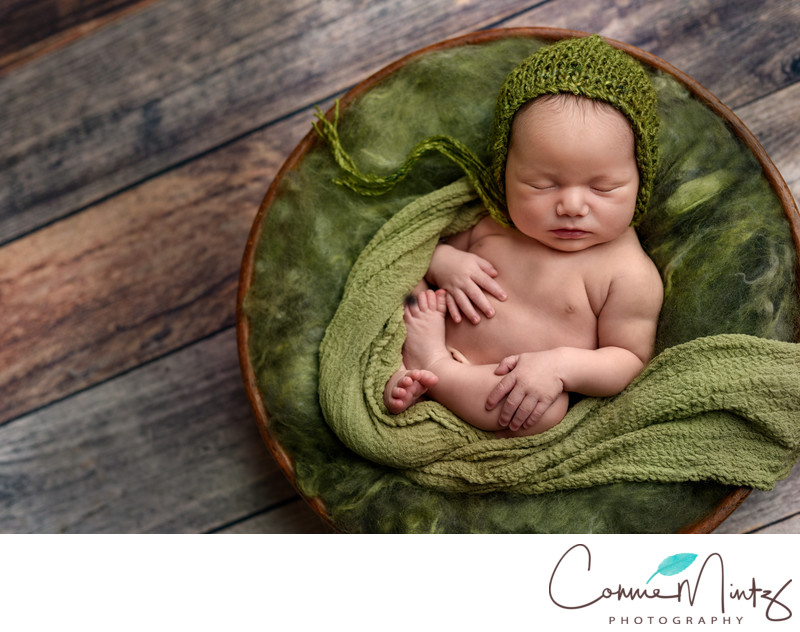 Newborn Photos in Wooden Bowl