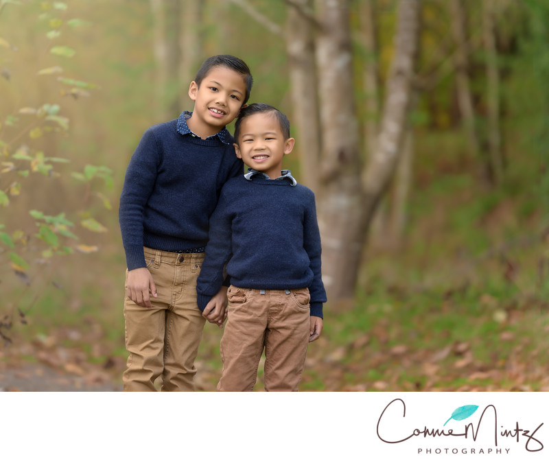 Outdoor Family Photographer of brothers  in Vancouver WA
