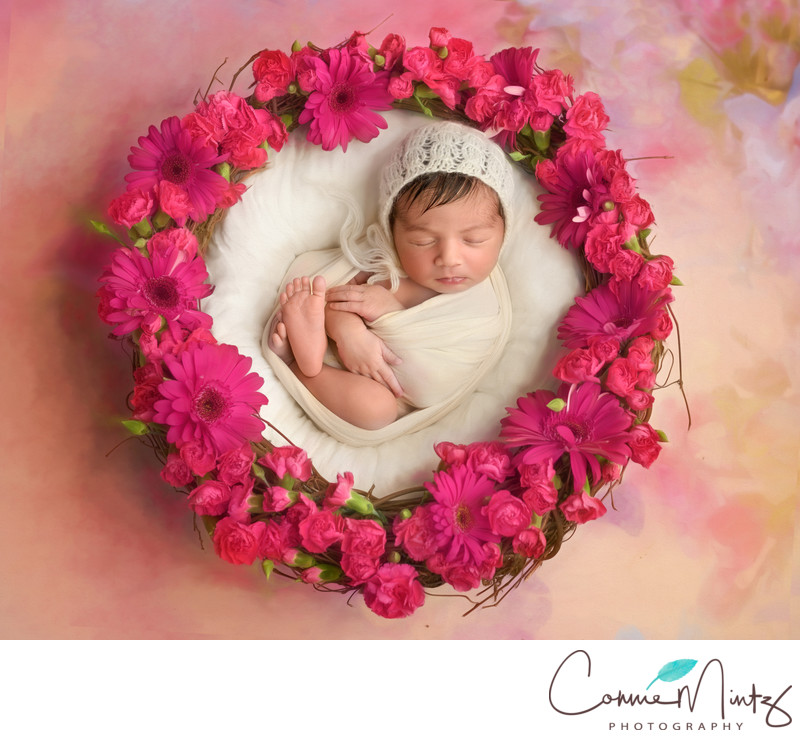 Fresh Flowers with Newborn in Bowl