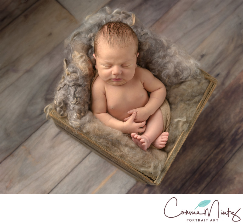 Baby in crate on wood floor